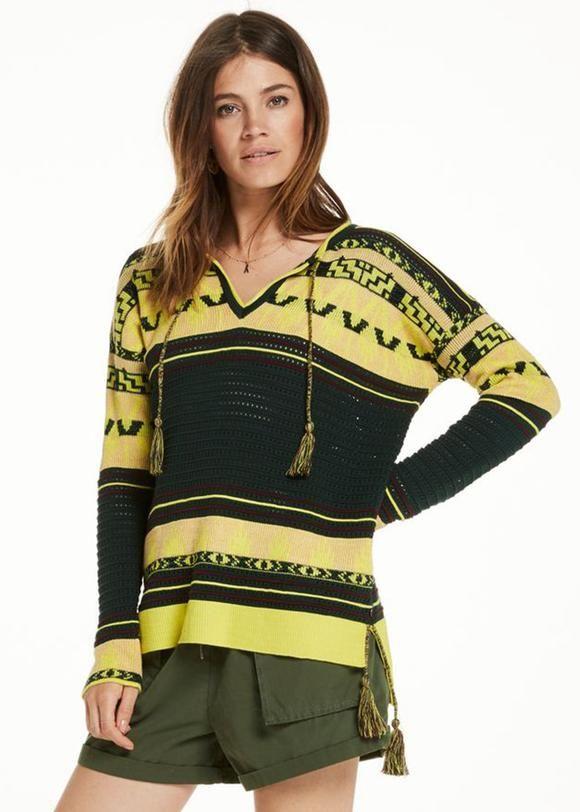 Sweater multi 137266 Maison Scotch Tasseled Pullover
