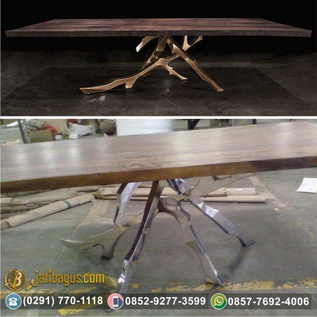 Meja Makan Kaki Stainless Solid Wood Trembesi