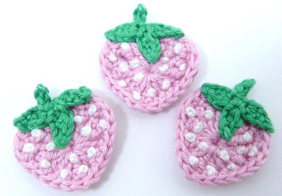 Fruit appliques Crochet appliques 3 crochet strawberries.