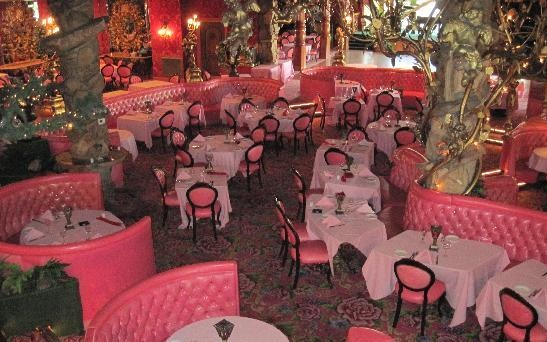 Alex Madonna's Gold Rush Steakhouse at the Modonna Inn, San Luis Obispo, CA. Pink opulence, with an old school steakhouse menu. If you can, book one of the specialty rooms in the hotel, such as the Jungle Rock room, or the Fox and Hound room, and everyone, including the ladies, should check out the hotel men's room, it has a flowing waterfall urinal!