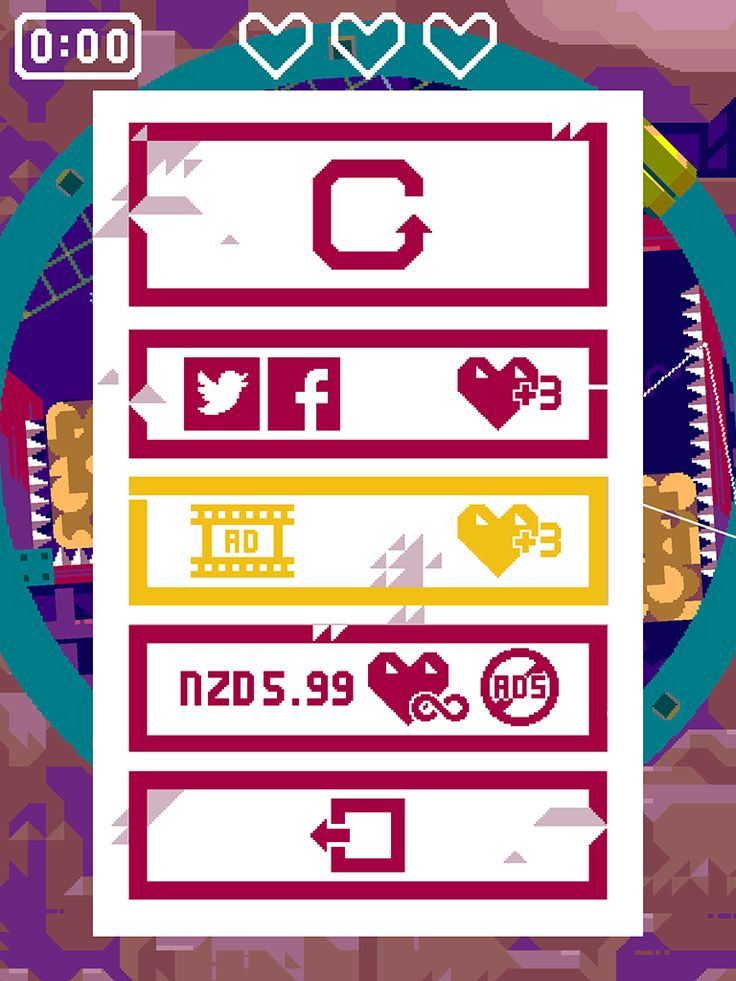 Beneath The Lighthouse | Out Of Lives | Nitrome | UI HUD User Interface Game Art GUI iOS Apps Games | Pixel Art