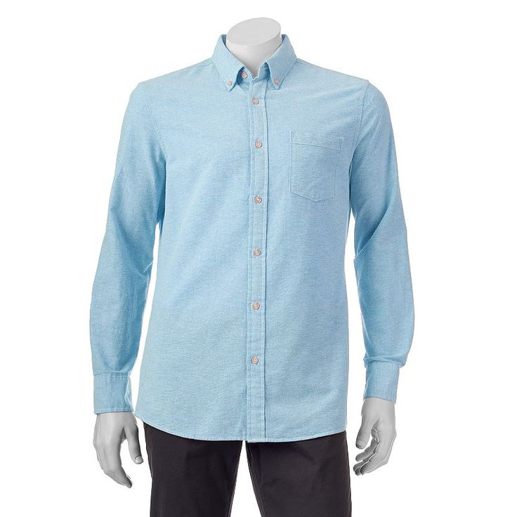 Men's SONOMA Goods for Life™ Classic-Fit Solid Oxford Button-Down Shirt - Men, Turquoise/Blue (Turq/Aqua)