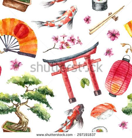 Watercolor Japan pattern. Seamless texture with hand drawn elements: Torii gate,bonsai,koi fish,sakura,japanese fan and lantern,sushi and chopstick. Vector illustration