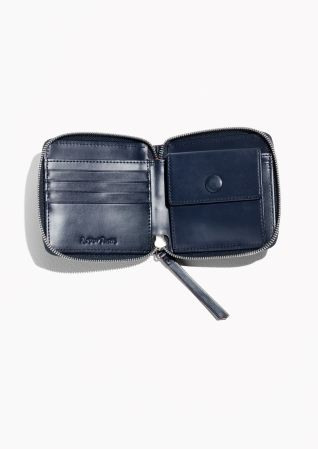 & Other Stories Leather Zip Wallet in Navy
