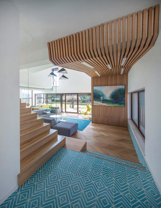 wooden structure in living room