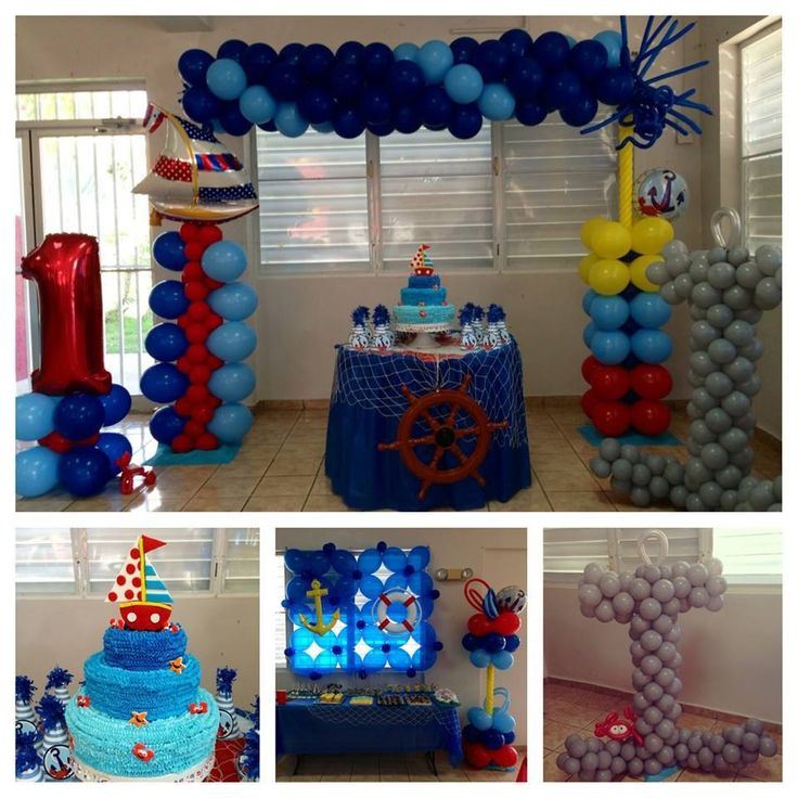 Anchors aweigh birthday party balloon ideas pinterest for Anchor balloon decoration