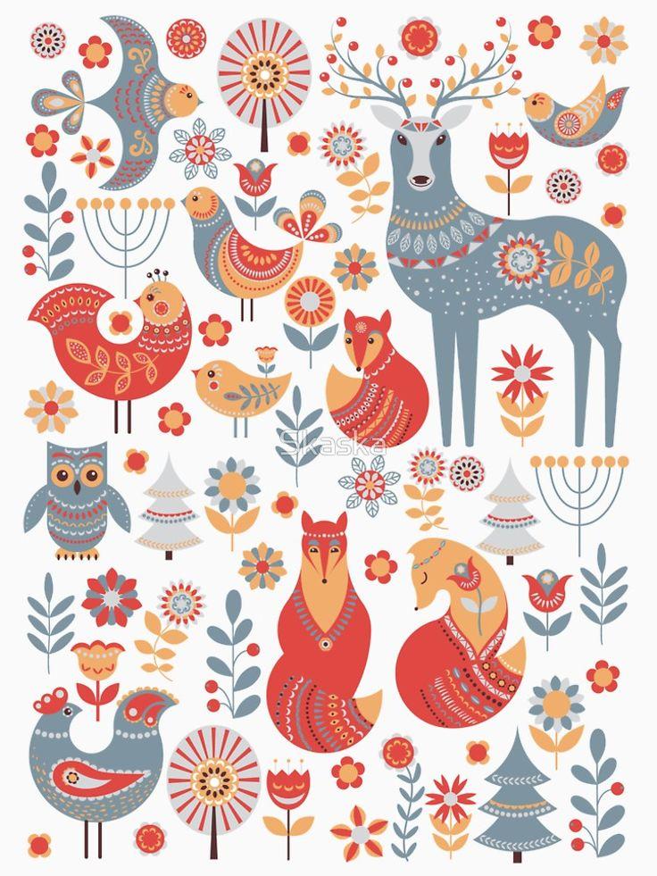 Seamless pattern with winter forest, deer, owl and Fox. The Scandinavian style. | Women's Premium T-Shirt