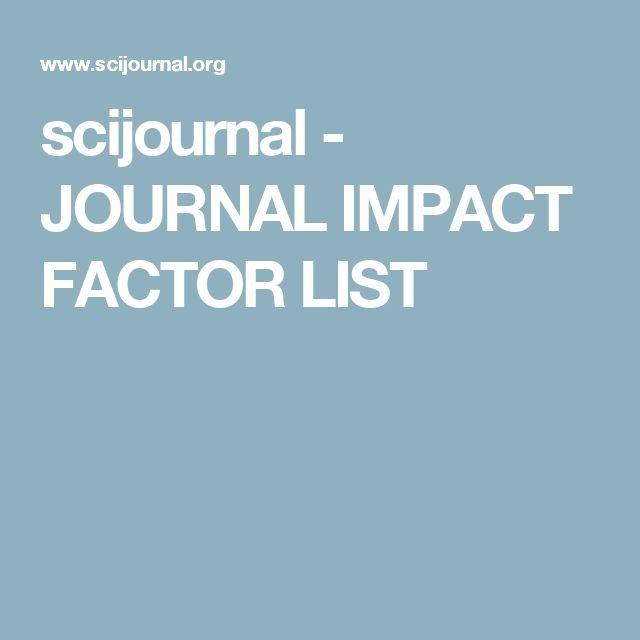 scijournal - JOURNAL IMPACT FACTOR LIST