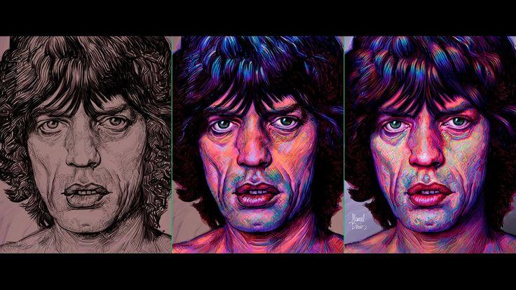 Mick Jagger, genuine art by Manuel Berrios C. wacom-photoshop-camtasia