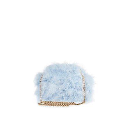 Blue fluffy cross body bag £30.00 #riverisland #bloggerstyle