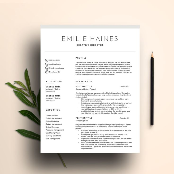 Word Cv Templates 2007%0A A clean and modern resume template for Word and Pages