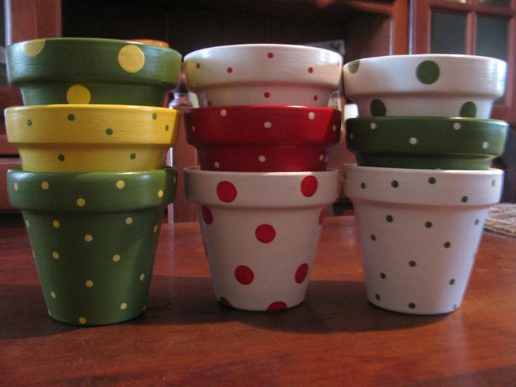 macetas pintadas a mano p/souvenirs o decoración de jardines
