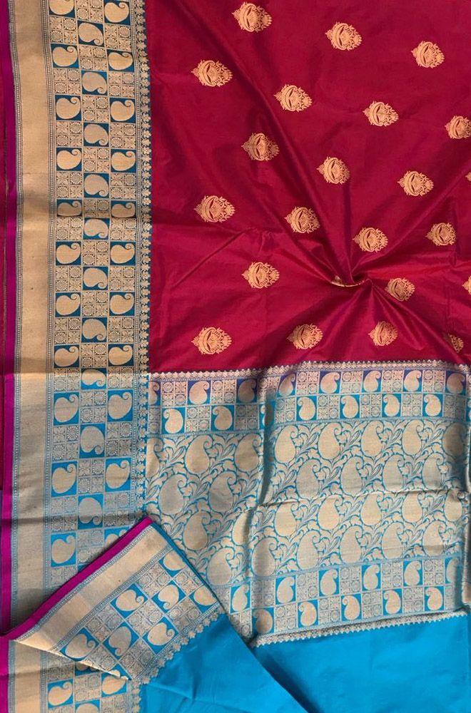652c682c1939ee Red Handloom Banarasi Katan Silk Saree with Floral Design Blue Border   banarasisilksaree