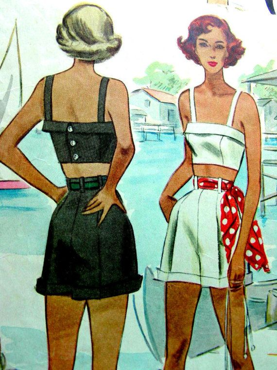 Vintage 1940's McCall 7262 Sewing Pattern -  1940's Misses' Shorts & Bra Midriff Sun Top - Bust 34