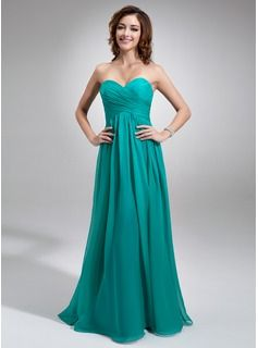 Empire Sweetheart Floor-Length Chiffon Charmeuse Bridesmaid Dress With Ruffle (007016755)