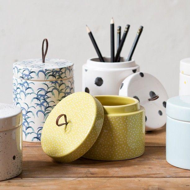 What will you store in the glazed jars? Ceramic jars with lid, price DKK 36,60 / 49,79 / NOK 48,90 / EUR 5,12 / ISK 889 / GBP 4.33  #owndesign #jars #ceramics #patterns #homestyling #inspiration #sostrenegrene #søstrenegrene #grenehome