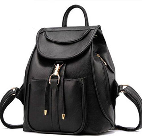 Black Colour Modern Design PU Women Backpack