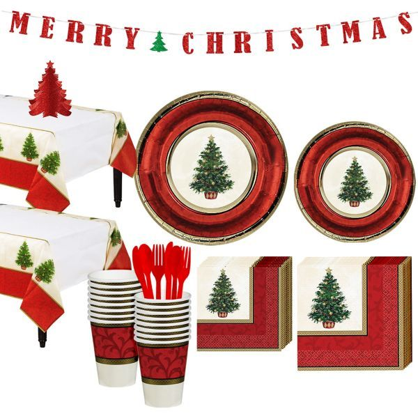 Classic Christmas Tree Tableware Kit For 16 Guests Classic Christmas Tree Classic Christmas Red Christmas Tree