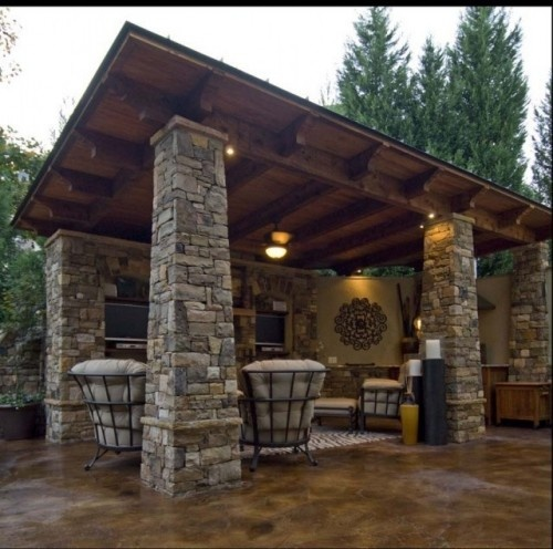Wow, nice!: Outdoor Living, Outdoor Rooms, Stones Pillar, Pools House, Stained Concrete, Castro Design, Floors Design, Concrete Floors, Outdoor Spaces