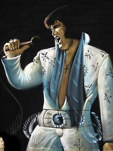 Velvet Elvis. Look, I'm from out west.  And we had a lot of weird cultural stuff.  But I could never understand the value of The King captured on velvet.  What's the deal?
