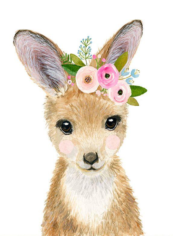 Watercolor Nursery Kangaroo Joey Nursey Print Woodland