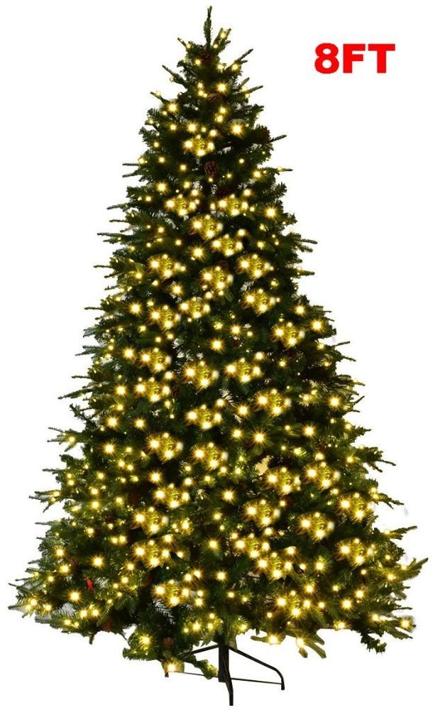 Giant Christmas Tree 8ft Pre Lit Commercial Led Lights Pine Metal Stand Xmas  NEW - Giant Christmas Tree 8ft Pre Lit Commercial Led Lights Pine Metal