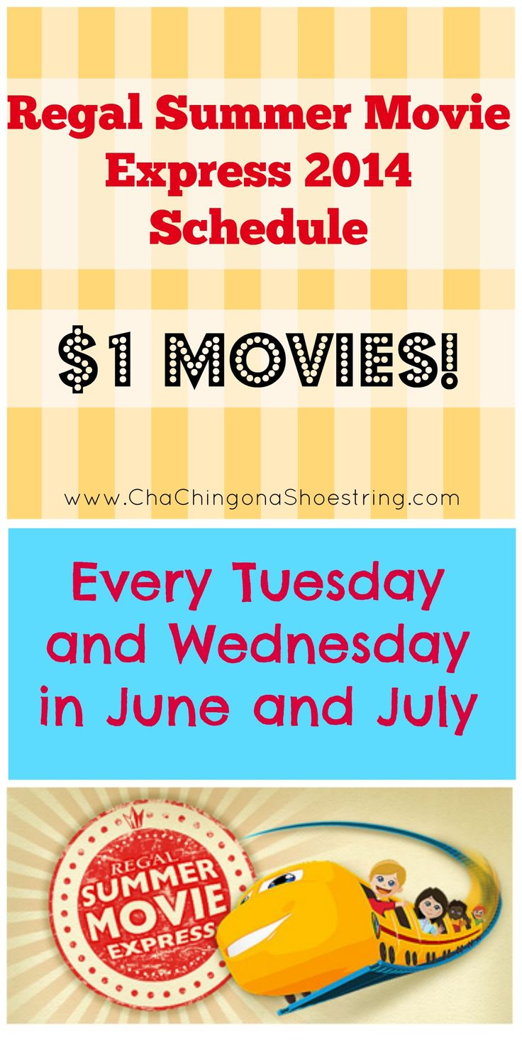 Regal Summer Movies Express Schedule 2014 – Such a fun activity with your kids this summer on the cheap. Find out if your local theater is participating and mark it on your calendar!