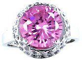 Silber Kristall Strass Rosa Runden Cut (1.2cm x 1.2cm) Funkelnd CZ Braut Hochzeit Abschlussball Cocktail Partei Ring mit PreciousBags Schutz-Staubbeutel - http://schmuckhaus.online/preciousyou/silber-kristall-strass-rosa-runden-cut-1-2cm-x-1-2cm