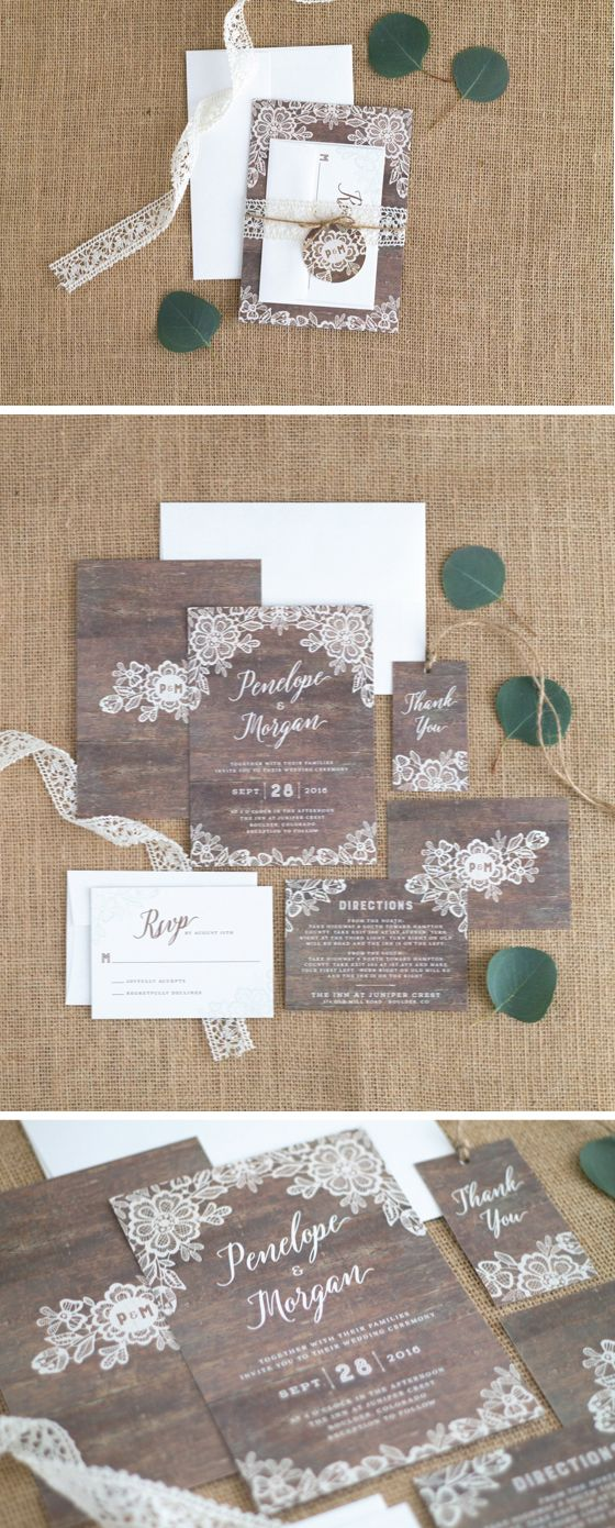 Woodgrain Lace Wedding Invitation Suite