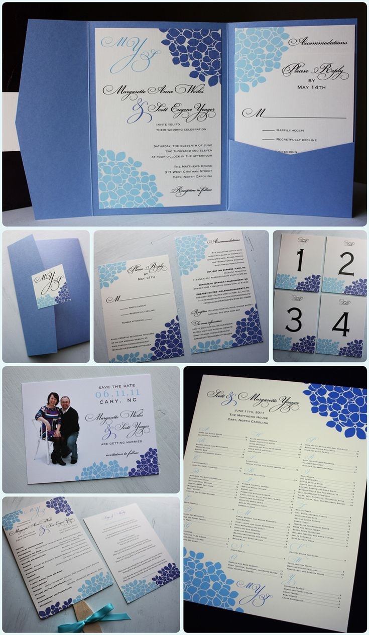 Purple and Light Blue Hydrangea Periwinkle Pocketfold Wedding Invitations, Photo Save the Date, Program Fans and Seating Chart