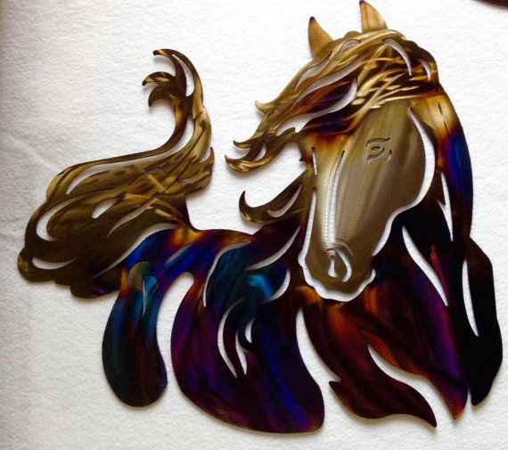 Metal horse, metal art, plasma wall art, western wall art, blued metal horse