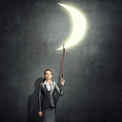 Woman catch moon
