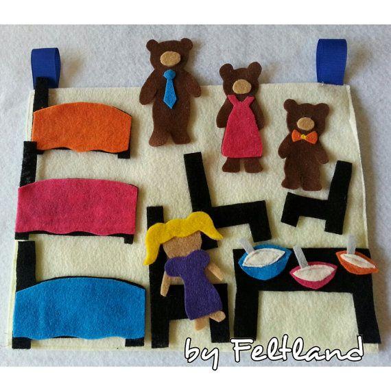 GOLDILOCKS and the THREE BEARS - Felt Board; felt activity; felt toy - Montessori inspired toy