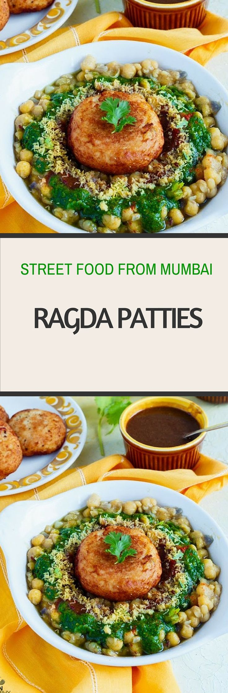 Ragda Patties, Street Food from Mumbai Recipe, YUM Veggie Snack,  @sandhyaskitchen, via @sunjayjk