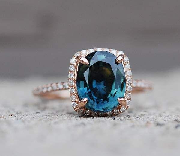 sapphire engagement ring in rose gold setting @myweddingdotcom
