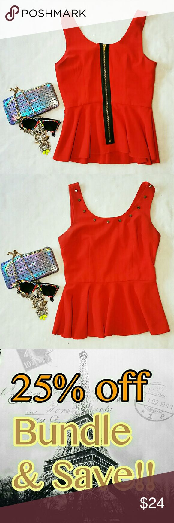 ⏳ GUESS Peplum Top Red Black Zipper Back Small Gorgeous GUESS bright red studded neckline, with a nice zippered back. Size small Peplum Guess Tops Blouses