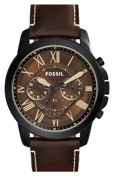 Fossil 'Grant' Chronograph Leather Strap Watch, 45mm available at #Nordstrom