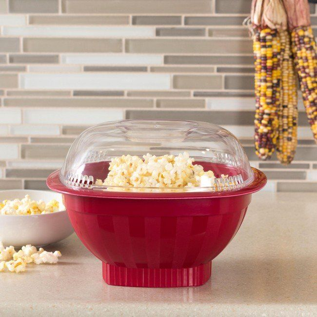 Based on a classic design that's won rave reviews from customers for years, but with a new high-domed cover that adds capacity and doubles as a serving bowl. No oil needed. It's the quick and healthy way to make popcorn!