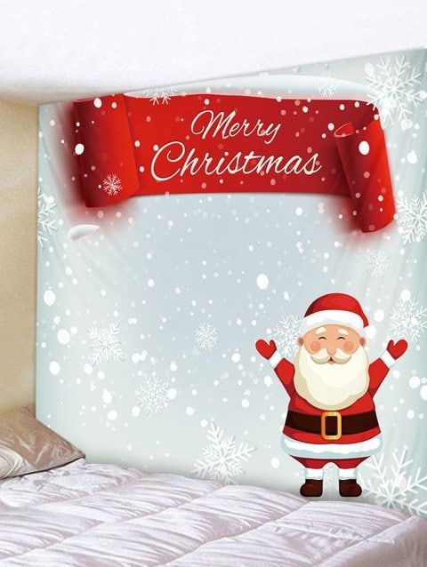 be600469cd4 Father Christmas Snowflake Print Tapestry Art Decoration - multicolor W91 X  L71 INCH