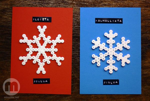 Joulukortit hamahelmillä - christmascards using hama beads
