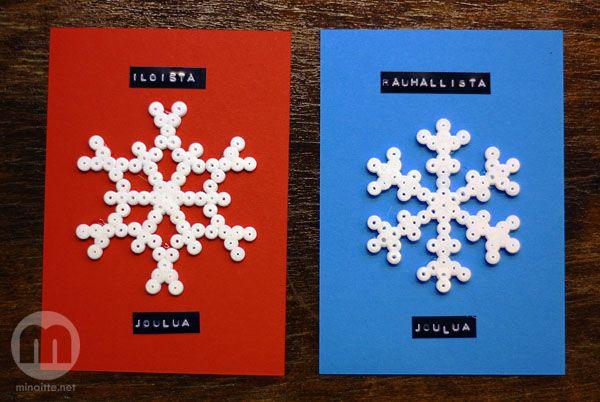 Joulukortit hamahelmillä - christmascards using hama beads