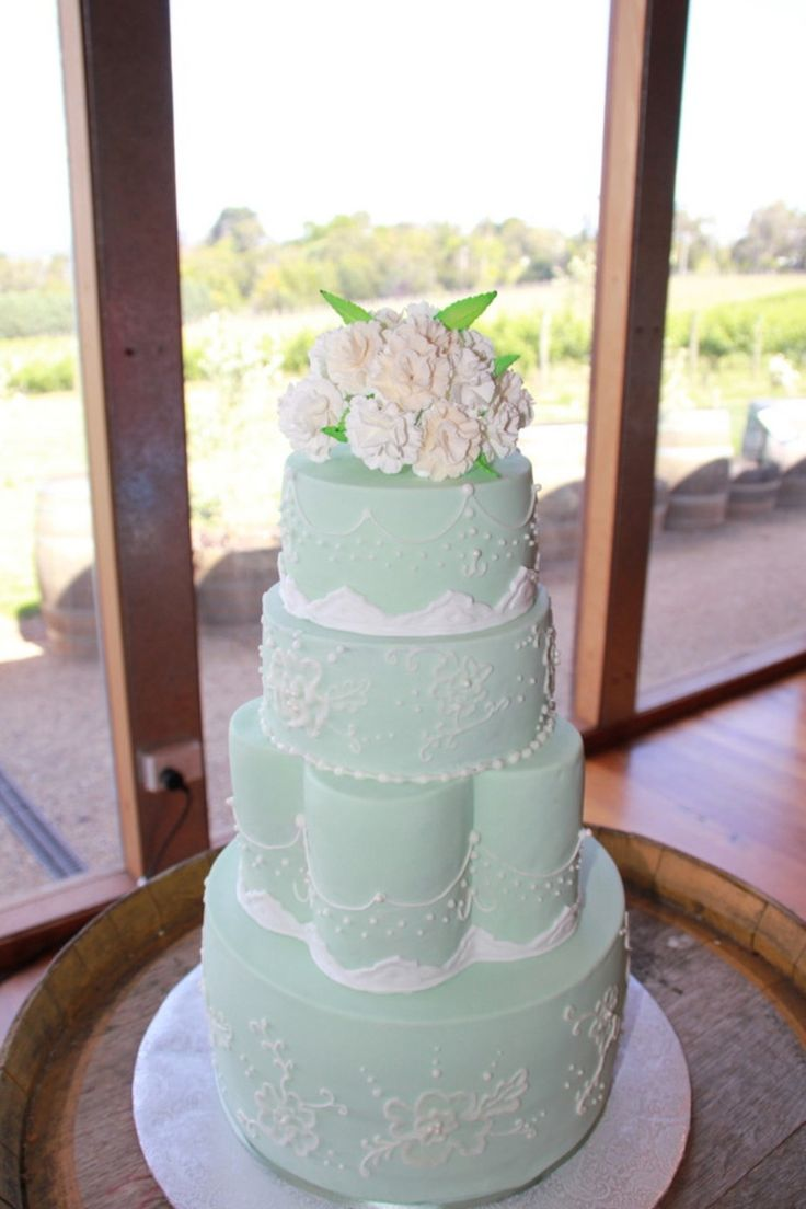 Pale Green Wedding Cake With Lace Brush Embroidery And Sugar Carnation Bouquet Pale green wedding cake with lace, brush embroidery and...