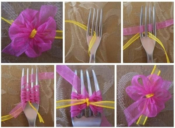 How to tie a beautiful simple bow with a fork step by step DIY tutorial instructions, How to, how to do, diy instructions, crafts, do it yourself, diy website, art project ideas