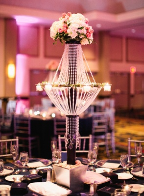 pink and navy centerpiece idea; photo: becca borge