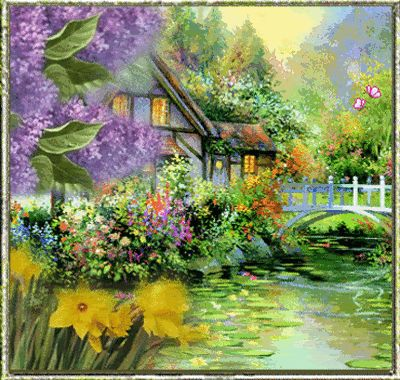 Beautiful House on the Lake Painting Animated home nature ...