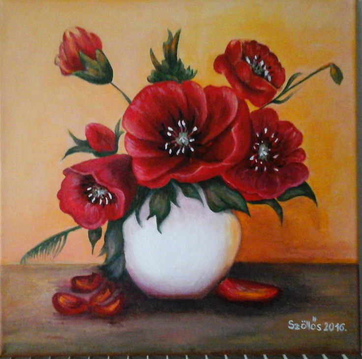 created by: Kovácsné Sz. Éva - poppy - , 30x30 cm canvas (Original painting: Anca Bulgaru)