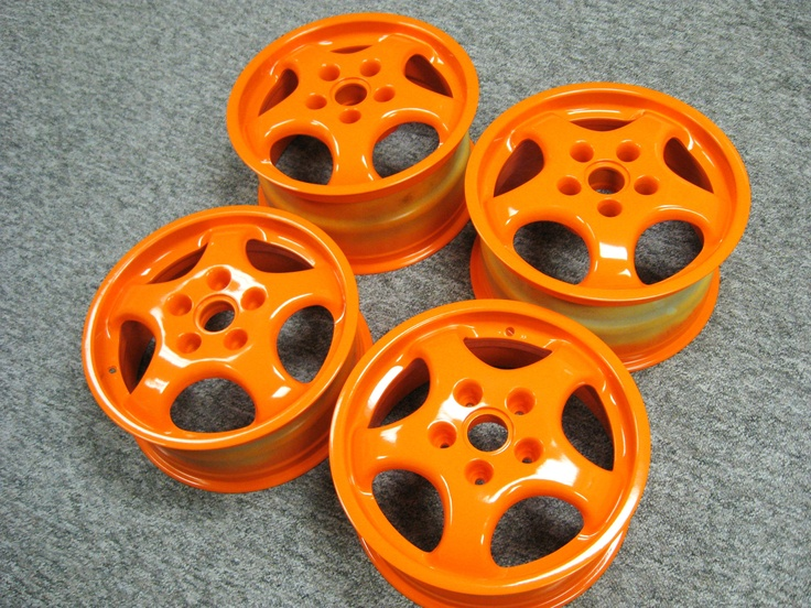 Orange gloss powder coat rims. See our gallery of powder coated wheels and view our color charts!