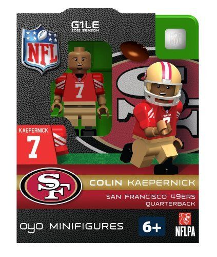 """Colin Kaepernick NFL Oyo Mini Figure Lego Compatible San Francisco 49ers by Oyo. $12.95. Oyo Figures measure almost 1 3/4"""" tall.. This is the Colin Kaepernick (San Francisco 49ers) Oyo Sports Toy Mini Figure.. It comes new in package (NIP).. Compatability: OYOs play nicely with other toys! OYOs are compatible with other name brand building blocks, so your OYOs can become part of your favorite scene.. Each package includes the player, football, helmet and facemask, ..."""