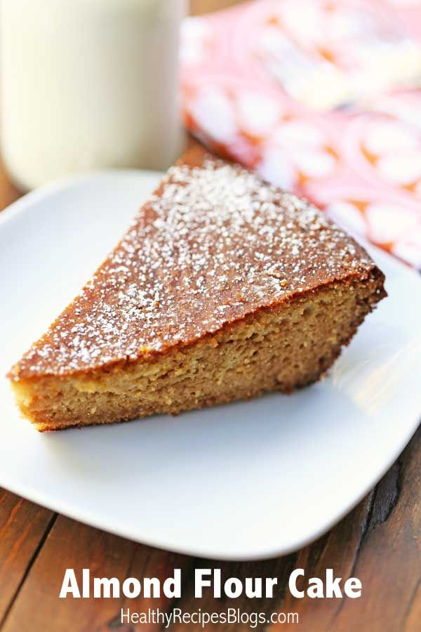 Nut flour cakes are often dense and heavy, but this almond flour cake is light and fluffy. It's delicious, and why wouldn't it be, with all that nutty goodness and honey sweetness. 231 calories per slice.  #glutenfree #paleo