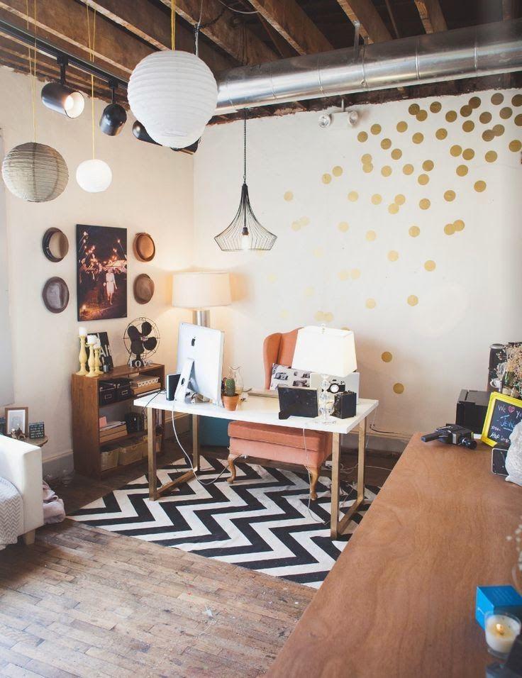 El Costurero Magazine: Creative Space: Golden dots & armchair